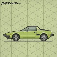 Fiat Bertone X1/9 Green – The Fiat X1/9 is a two-seater mid-engined sports car designed by Bertone and manufactured by Fiat from 1972-1982 and subsequently by Bertone from 1982-1989 ©2016 Artsmoto – All Rights Reserved