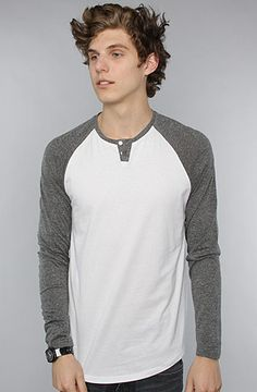 The Raglan Tee in White & Black Speckle by All Day