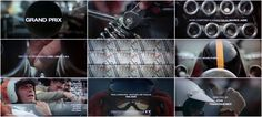 """Title Sequence: """"Grand Prix"""" This masterfully assembled montage of pre-race preparation features crisply aligned type and meiotic split-screens set to a soundtrack of revving motors and beating hearts."""