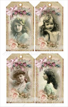 Digital collage sheet vintage Shabby Chic tags 26 by whimsydust