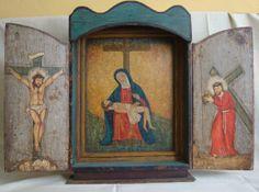 """Nicho """"Pasajes de la Pasión de Jesús"""" Colonial venezolano. Finales siglo XVIII. Policromado. Med: 70X45X9 cms"""
