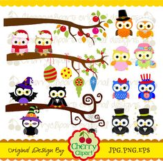 Holiday and Season Owls Digital Clipart Set 2 for by Cherryclipart