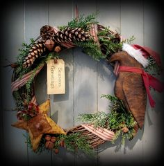 Christmas Santa Crow Wreath with star and pine cones