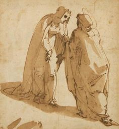 Luca CAMBIASO, 1527 - 1585. The Visitation, c.1580, pen and  brown ink, 27.3 x 25.1 cm   Art Gallery of South Australia, Adelaide