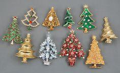 10 PC Vintage Rhinestone Enamel Christmas Tree Brooch Pin Lot Brooch Corsage, Brooch Pin, Jewelry Christmas Tree, Christmas Ornaments, Jewelry Box, Jewellery, Xmas Tree, Vintage Rhinestone, Brooches