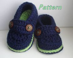 Crochet PATTERN Baby Loafers by monpetitviolon on Etsy