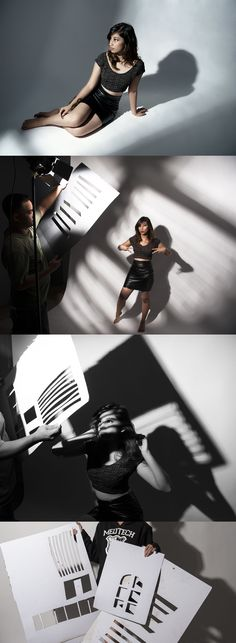 the use of gobos in your images, love the shadows they cast on the model and background. #photographylightingsetup