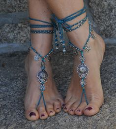 "Valentine's day ""Heart of viana"" BAREFOOT SANDALS dark TURQUOISE foot jewelry hippie sandal crochet barefoot sandals portuguese jewelry"