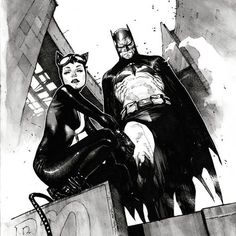 """Batman and Catwoman variant cover from Batman black and white and color version by Olivier Coipel. Batman Painting, Batman Artwork, Batman Comic Art, Batman Comics, Comic Book Artists, Comic Artist, Comic Books Art, Catwoman Cosplay, Batman And Catwoman"