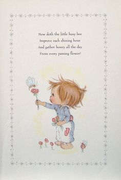 Betsey Clark Precious Moments - How Doth The Little Busy Bee - 1972 Vintage Book Page