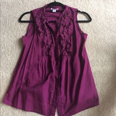 LOFT ruffle top Deep plum color. This top is super cute and looks great tucked into a pair of dress pants, capris, or a pencil skirt. Will also include a matching cami with this! Worn once and in perfect condition! Top is an XSP and the cami is an XS. LOFT Tops Tank Tops