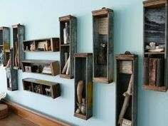 repurpose drawers - an interesting idea. A coat of paint and some updated hardware could modernize these even more.
