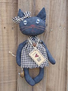 Primitive Country Grungy Black Cat Doll Wood Mouse Homespun Rusty Bell Prim Tag | eBay
