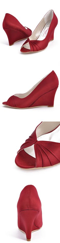 Wedding Shoes And Bridal Shoes: Ep2009 Burgundy Peep Toe High Heel Wedges Satin Wedding Bridal Party Shoes Us 10 -> BUY IT NOW ONLY: $32.95 on eBay!