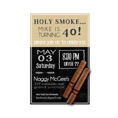 Holy Smoke Cigar Themed Birthday Party Invitation by GreenishPink