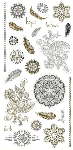 Metallic tattoo: Henna inspired metallic by intheyear1967 on Etsy: