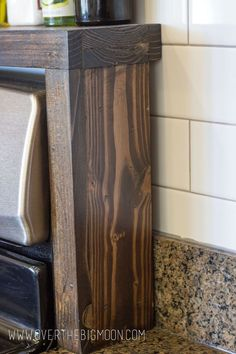 DIY Oil and Vinegar Shelf - Over The Big Moon DIY Oil and Vinegar Shelf You are in the right place about boho kitchen Here we o - Diy Interior, Interior Design, Rustic Kitchen, Kitchen Decor, Kitchen Ideas, Kitchen Tips, Kitchen Storage, Home Furniture, Repurposed Furniture