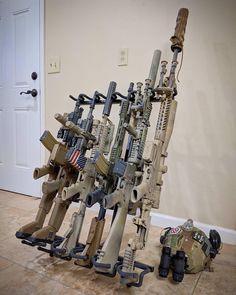 Rifles on Display Tactical Rifles, Firearms, Tactical Wall, Weapons Guns, Guns And Ammo, Airsoft Guns, Gun Storage, Military Guns, Assault Rifle