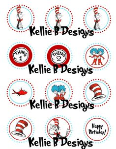 Cat in The Hat Printable Napkin Rings/Wraps by KellieBDesigns
