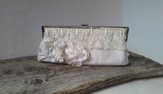 White Bridal ,Wedding Bag, White Wedding Bag, Bridesmaid Gift, Wedding clutch,  Luxury Bridesmaid Gift, flower brooch, silk brooch by WeddingDesignForYou on Etsy