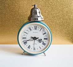 Vintage Soviet mechanical desk alarm clock 'Jantar'  by Vintaguk, $28.00