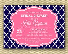Navy and Pink Bridal Shower Invitation - Chic, Preppy, Nautical - Modern - DIY Printable - ANY EVENT - Any Color Scheme on Etsy, $18.00