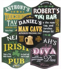 Whether you're looking for a personalized sign for your Man Cave, Bar, Pub, Tavern, Irish Pub, Sports Room or even a Diva Den, we have a your sign! Signs can be personalized with the name of your choice using vinyl lettering. All include a keyhole hanger on the back for easy door or wall mounting, and are intended for interior use only. There are no character limits the requested personalization will be sized to fit. $28-$39