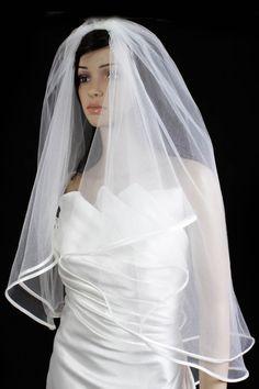 Bridal Wedding Veil Ivory 2 Tiers Fingertip Length 1/4in Satin Trim Hem Edge >>> You can get additional details at the image link.