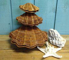 Vintage Clam Sea Shell Basket Wicker Set Beach by CastawaysHall