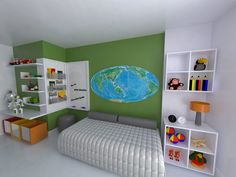 Quarto de Menino Mapa Mundi. Projeto: Escritório de Arquitetura Servino e Assed Renderização: Estúdioi - Desenhos em 3D e Renderização de Imagens para Arquitetura