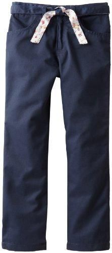 U.S. Polo Assn. School Uniform Big Girls' Brushed Twill Pant with Reversable Belt Navy 8