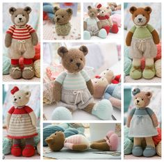 New Teddy Bear Knitting Pattern/ Girl Bears/ door maryjanestearoom