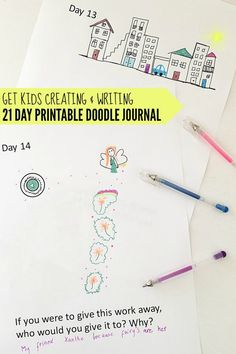 Use doodles to inspire writing as an introduction to journal writing or sketchbooking for kids