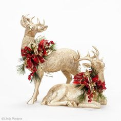 Embellished Deer- Available with different florals and ribbon. Rose Gold Christmas Decorations, Christmas Table Centerpieces, Reindeer Decorations, Christmas Arrangements, Christmas Tablescapes, Rustic Christmas, Christmas Home, Christmas Wreaths, Christmas Ornaments