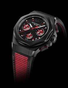 Racing spirit in black and red for GP's bold luxury sports chronograph watch. Meet the new Girard-Perregaux Laureato Absolute Passion. Ferrari, Monochrome Watches, Girard Perregaux, Black Dating, Limited Edition Watches, Royal Oak, Young Fashion, Black Rubber, Watches For Men