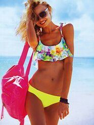 Cute VS pink swimsuit....Loving flounce tops!