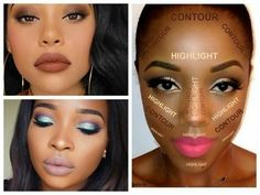 Best Makeup Looks for Black Women - Dark Skin Contouring and Highlighting Tutorial - YouTube