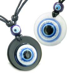 Evil Eye Reflection Love Couple Protection Amulets White Quartz Black Agate Pendant Necklaces