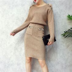 Set Women Long Sleeve Casual  Price: 49.98 $ FREE Shipping  #like4like #followme #followforfollow #instagood #fashion #usa #europa #accessories #Fashionstore Two Piece Gown, Two Piece Wedding Dress, Two Piece Outfit, Dress Suits, Dresses, Costumes For Women, Knit Dress, Like4like, Clothes For Women