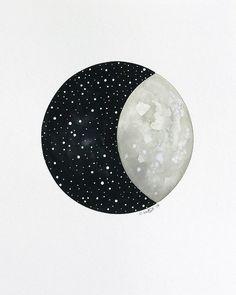 Moon and Stars 10 Original Contemporary by NatashaNewtonArt