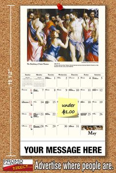 2021 Catholic Art Wall Calendars low as Fundraise for your Church or School. Promote your Business in the homes and offices of people in your area every day! Calendar App, Online Calendar, School Calendar, Calendar Bulletin Boards, Er 5, Promote Your Business, Your Message, More Fun, Fundraising
