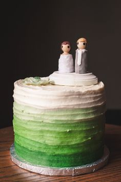 How cute is this green ombre cake?! Photography courtesy of Diane + Mike.