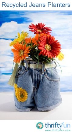 This is a guide about recycled jeans planters. Recycling jeans sets the stage for many craft projects.