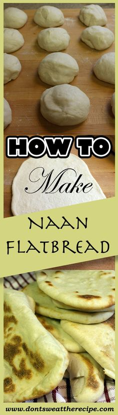 Make your own naan flatbread at home. Tastes a million times better than store bought! Naan Flatbread, Flatbread Recipes, Naan Recipe, Pastry Recipes, Cooking Recipes, Vegan Recipes, How To Make Naan, Biscuits, Good Food
