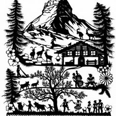 Matterhorn – Scherenschnitte Esther Gerber A5, Folk, Papercutting, Cards, Gifts, Pictures, Popular, Fork, Folk Music