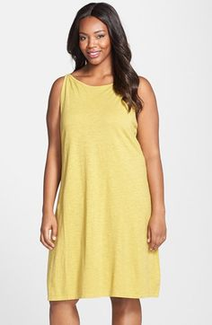 Eileen Fisher Sleeveless Hemp & Cotton Bateau Neck Dress (Plus Size) available at #Nordstrom