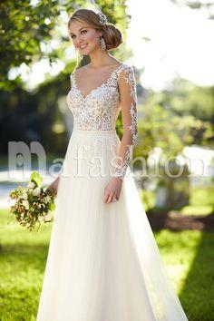 Robe de mariée trapèze dos nu en tulle avec dentelle
