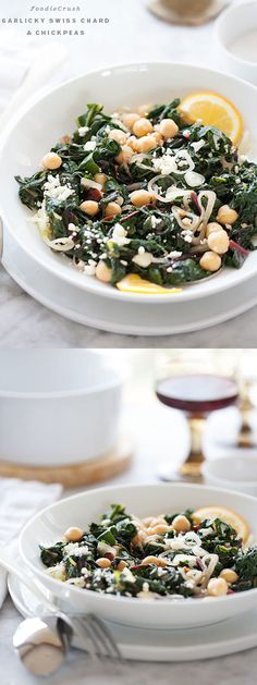Garlicky Swiss Chard and Chickpeas | foodiecrush.com