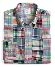 Brooks Brothers Regular Fit Patch Madras Sport Shirt