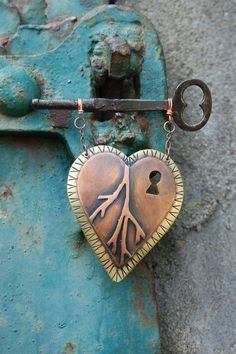 copper heart and key-love this